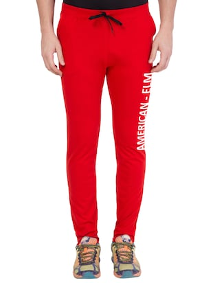 red cotton track pant - 14424833 - Standard Image - 1