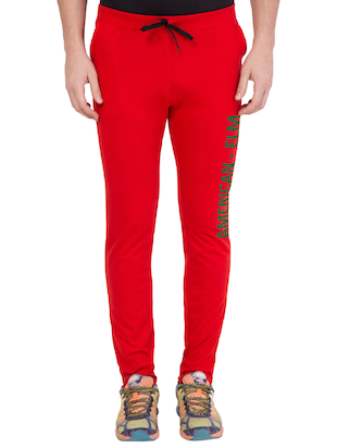 red cotton track pant - 14424837 - Standard Image - 1