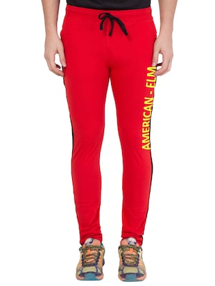 red cotton track pant - 14424842 - Standard Image - 1