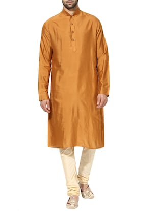 orange silk blend long kurta - 14424884 - Standard Image - 1