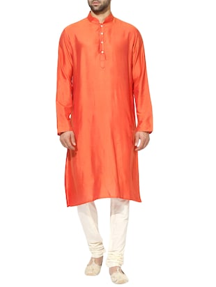 orange silk blend long kurta - 14424885 - Standard Image - 1