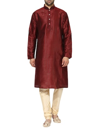 red dupion long kurta - 14424887 - Standard Image - 1