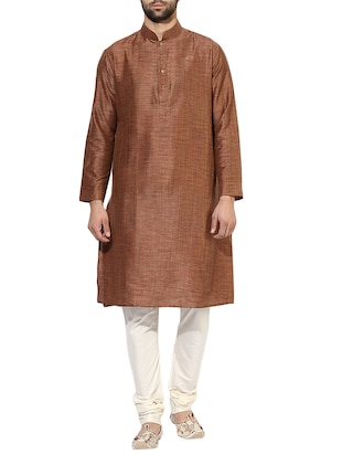 brown silk blend long kurta - 14424902 - Standard Image - 1