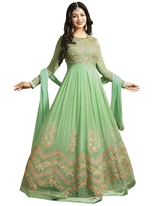 green faux georgette anarkali suits semistitched suit - 14425797 - Standard Image - 1