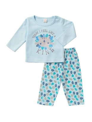blue cotton nightwear set - 14425989 - Standard Image - 1