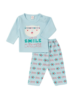 blue cotton nightwear set - 14425998 - Standard Image - 1