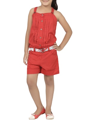 red cotton playsuit - 14426575 - Standard Image - 1
