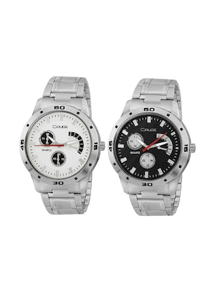 Crude combo of 2 Stainless Steel men's watch-rg741 with white & Black Dial - 14427054 - Standard Image - 1