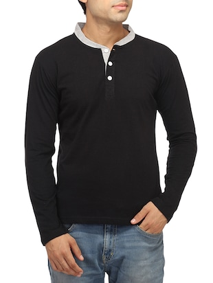 black cotton solid t-shirt - 14427673 - Standard Image - 1