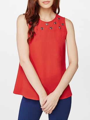 red embellished top - 14427801 - Standard Image - 1