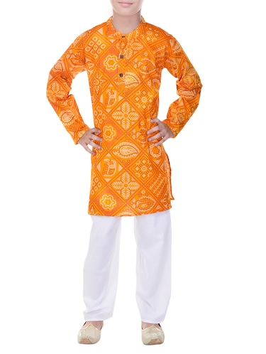 yellow and white cotton kurta set - 14428931 - Standard Image - 1
