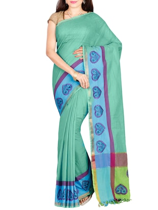 The Chennai Silks green plain saree with blouse - 14428994 - Standard Image - 1