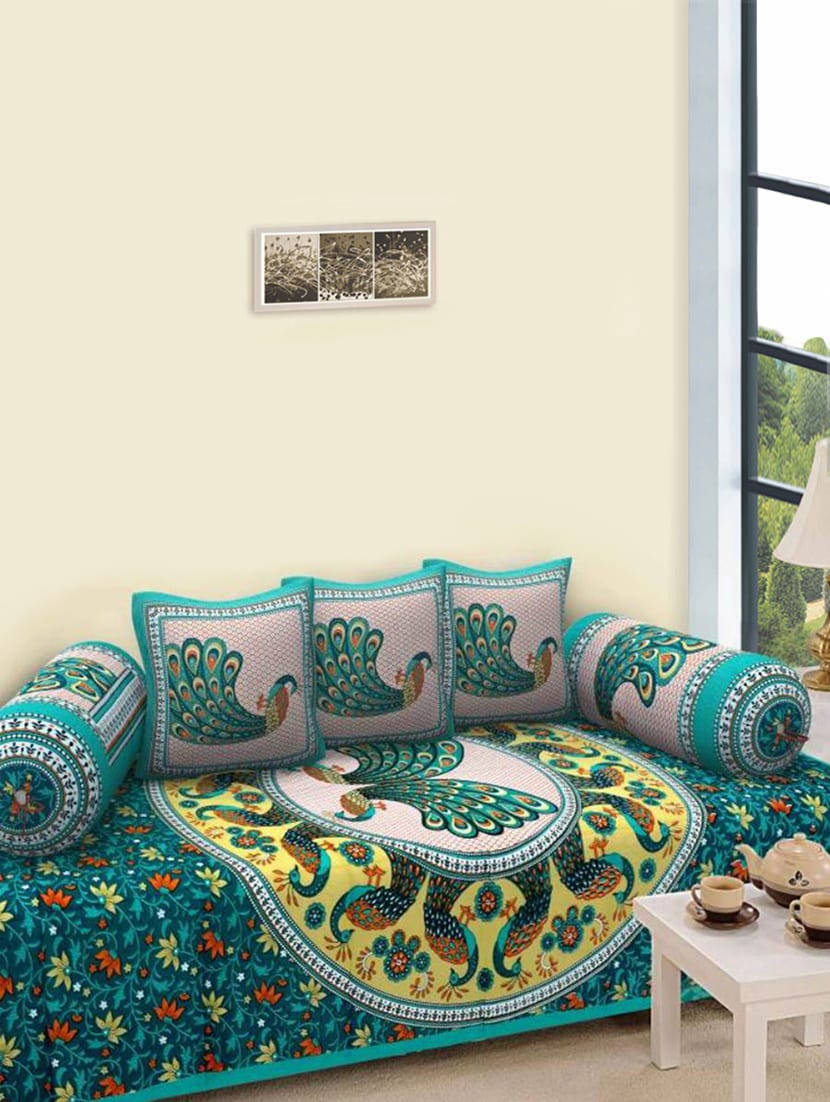 Cotton Rajasthani Printed 6 Pieces Diwan Set By Homesense Online Ping For Sets In India 14429170
