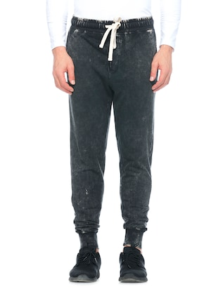 black cotton  full length track pant - 14430847 - Standard Image - 1