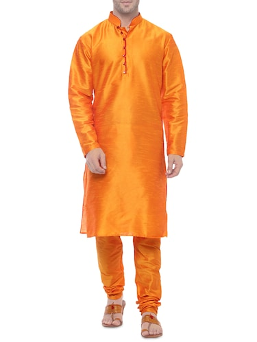 orange silk blend kurta payjama set - 14431421 - Standard Image - 1