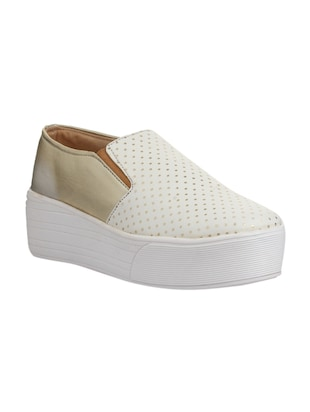 white faux leather plimsolls casual shoes - 14432174 - Standard Image - 1