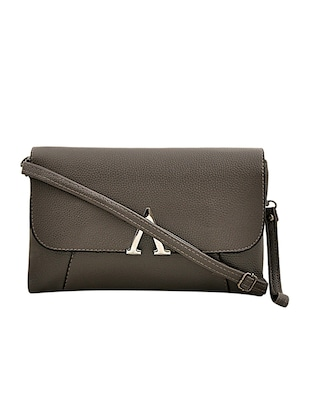 grey leatherette sling bag - 14432494 - Standard Image - 1