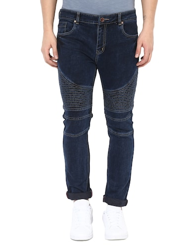 blue cotton blend biker jeans - 14433209 - Standard Image - 1