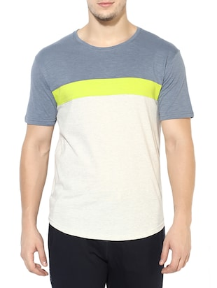 white cotton color block t-shirt - 14433271 - Standard Image - 1