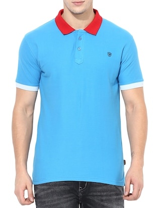 blue cotton t-shirt - 14433274 - Standard Image - 1