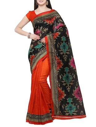 black cotton silk printed saree with blouse - 14433809 - Standard Image - 1