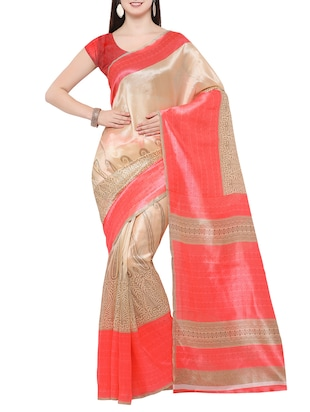 beige cotton silk printed saree with blouse - 14433812 - Standard Image - 1
