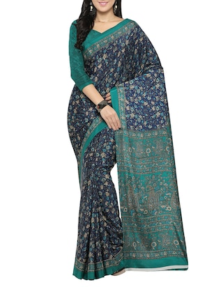 blue crepe printed saree with blouse - 14433817 - Standard Image - 1