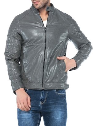 grey faux leather biker jacket - 14435419 - Standard Image - 1