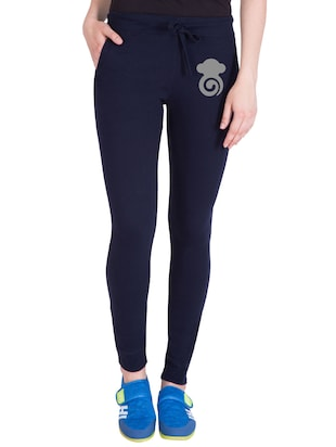 navy blue cotton track pants - 14436757 - Standard Image - 1