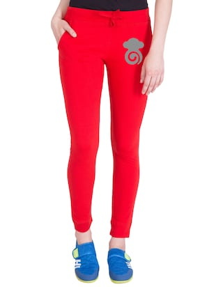 red cotton track pants - 14436787 - Standard Image - 1