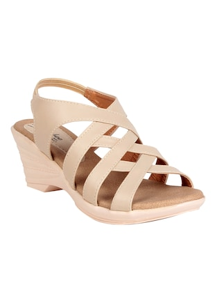 nude faux leather platforms wedges - 14436963 - Standard Image - 1