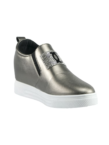 gold pu plimsolls casual shoes - 14441084 - Standard Image - 1