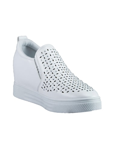 white pu plimsolls casual shoes - 14441091 - Standard Image - 1