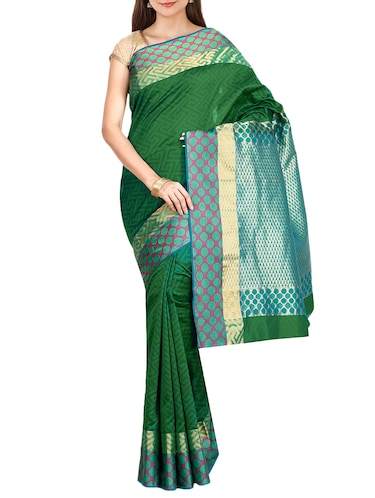 The Chennai Silks green kanjivaram saree with blouse - 14454338 - Standard Image - 1