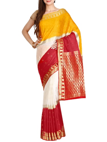 The Chennai Silks red mysore silk saree with blouse - 14454371 - Standard Image - 1