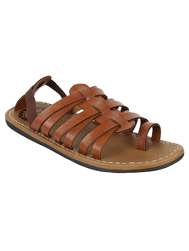brown leatherette back strap sandals - 14454642 - Standard Image - 1