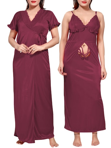 purple colored robe & nighty set - 14455174 - Standard Image - 1