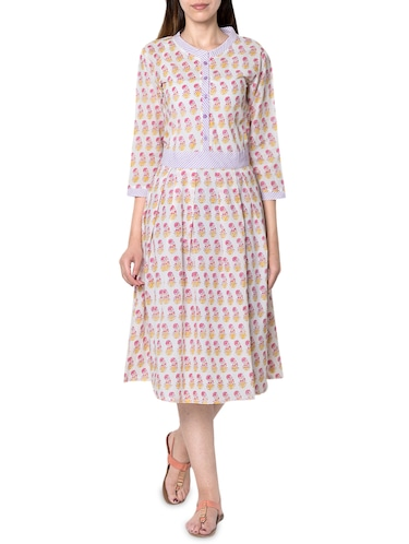 white cotton a line dress - 14455790 - Standard Image - 1