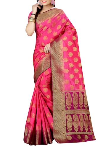 pink nylon woven saree with blouse - 14456617 - Standard Image - 1
