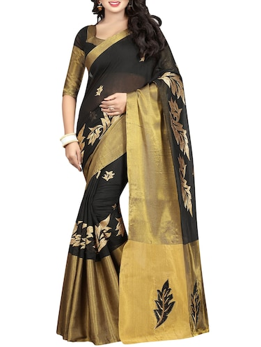 black cotton embroidered saree with blouse - 14456630 - Standard Image - 1