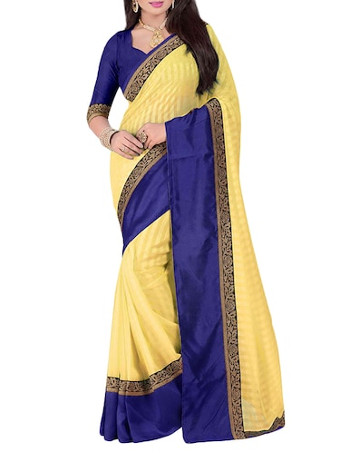 yellow bordered saree with blouse - 14456673 - Standard Image - 1