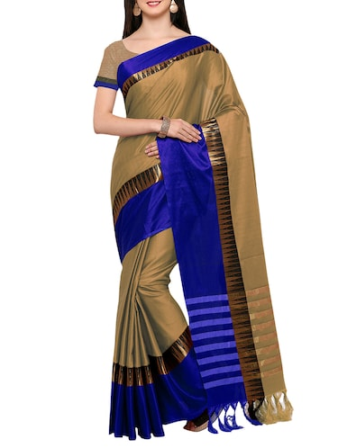Biege Cotton Silk Bordered Saree with blouse - 14456858 - Standard Image - 1