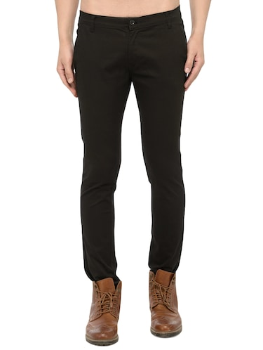 black cotton chinos casual trousers - 14457192 - Standard Image - 1