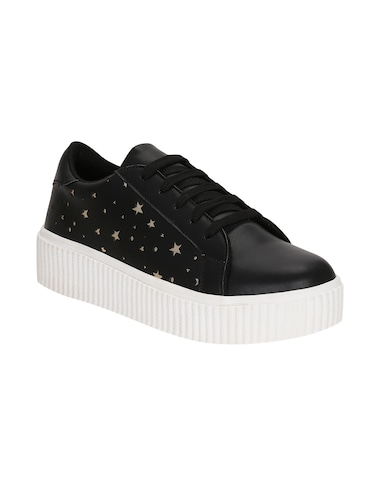 black faux leather laceup sneakers - 14457884 - Standard Image - 1