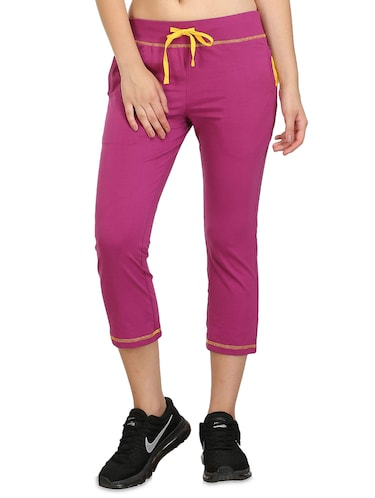 Purple cotton blend sports capri - 14457912 - Standard Image - 1