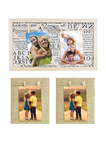 Pack of 3 Wooden Table Top & Wall hanging Frames - 14459475 - Standard Image - 1