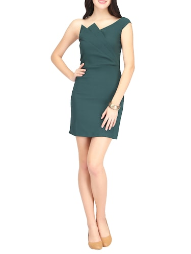 Green single shoulder sheath dress - 14459870 - Standard Image - 1