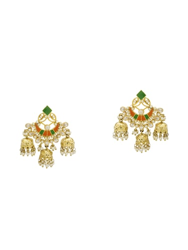 gold metal chandelier earrings - 14460773 - Standard Image - 1
