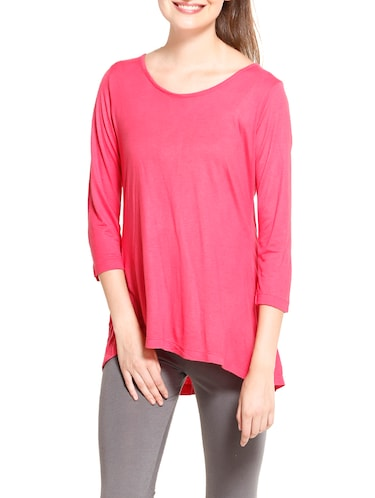 solid pink asymmetrical top - 14461295 - Standard Image - 1