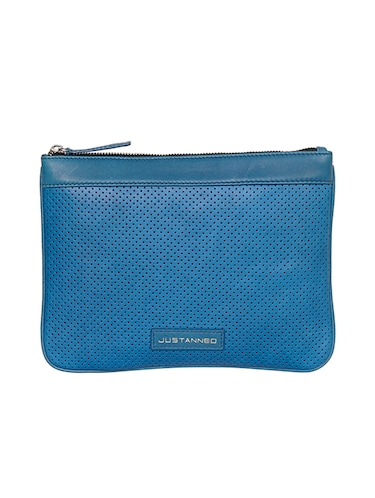 blue leather regular pouch - 14461342 - Standard Image - 1